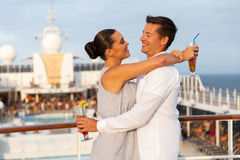 Couple embracing cruise. Portrait of lovely couple embracing on cruise ship Royalty Free Stock Photography