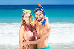 Couple embracing each other on beach Stock Photography