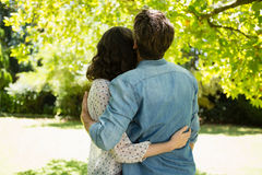 Couple embracing each other in garden on a sunny day Royalty Free Stock Photography