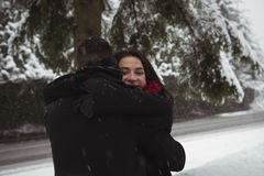 Couple embracing in forest during winter Royalty Free Stock Photography