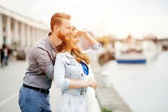 Couple embracing love. Cute couple embracing love and nursing feelings Stock Photography