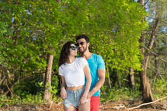 Couple Embracing Tropical Green Forest Summer Vacation, Beautiful Young People In Love, Man Woman Happy Smile Stock Images