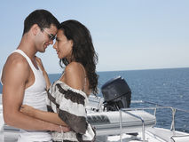 Couple Embracing On Yacht Royalty Free Stock Images