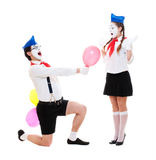 Couple of emotional mimes Stock Images