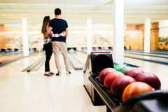 Couple enjoy bowling together Royalty Free Stock Photo