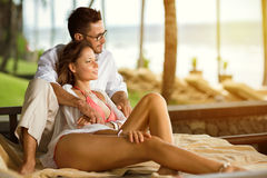 Couple enjoy the common vacation Royalty Free Stock Image