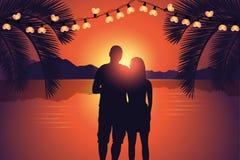 Couple enjoy the romantic sunset at paradise beach vector illustration