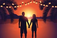 Couple enjoy the romantic sunset at paradise beach royalty free illustration