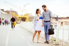 Couple enjoy walking royalty free stock photography