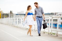 Couple enjoy walking royalty free stock image