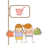 Couple enjoy shopping Royalty Free Stock Photo