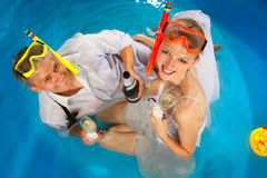 Couple is enjoyin  in pool Stock Image