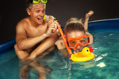 Couple is enjoyin  in pool Royalty Free Stock Photography