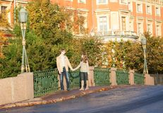 Couple enjoying autumn day Stock Photo