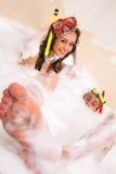 Couple is enjoying a bath Royalty Free Stock Photos
