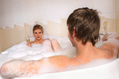 Couple is enjoying a bath Royalty Free Stock Images