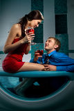 Couple is enjoying a bath Stock Photo