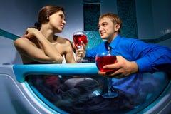 Couple is enjoying a bath Royalty Free Stock Image