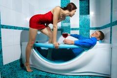 Couple is enjoying a bath Stock Photography
