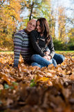 Couple Enjoying In The Beautiful Autumn Day Royalty Free Stock Image