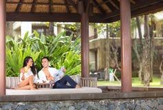Couple enjoying in beautiful resort. Outdoor Royalty Free Stock Photo