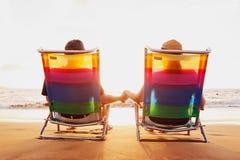 Couple Enjoying Beautiful Sunset Stock Images