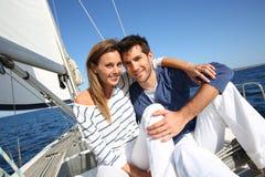 Couple enjoying boat cruise Stock Images