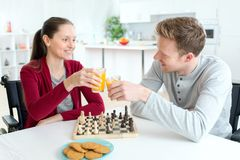 Couple enjoying breakfast together at home. Couple enjoying a breakfast together at home Royalty Free Stock Image