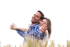 Couple enjoying the breeze in the park Stock Photo