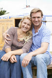 Couple Enjoying Camping Holiday In Traditional Yurt Stock Photography