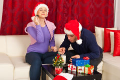 Couple enjoying Christmas night Royalty Free Stock Image