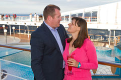 Couple Enjoying a Cruise Vacation Stock Images