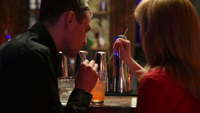Couple Enjoying Drink In Bar stock video