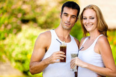 Couple Enjoying Drinks Stock Photo