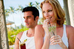 Couple Enjoying Drinks Royalty Free Stock Image