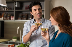 Couple enjoying drinks Stock Photography