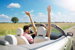 Couple enjoying a drive in a convertible Stock Image