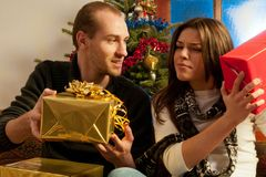 couple enjoying gifts Stock Image