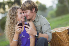 A Couple Enjoying A Glass Of Wine in the Park Royalty Free Stock Photography