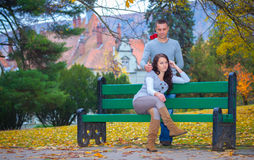 Couple enjoying golden autumn fall season Royalty Free Stock Photo