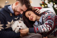 Couple enjoying in the holidays stock photography