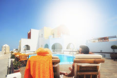 Couple enjoying the honeymoon in Santorini Royalty Free Stock Images