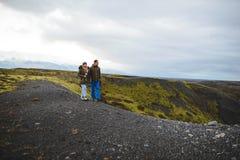 Couple Enjoying Iceland Landscape Stock Photo