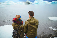 Couple Enjoying Lake in Iceland Stock Images