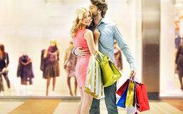 Couple enjoying leisure in the mall Stock Images