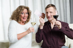 Couple is enjoying lottery win Stock Photography