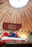 Couple Enjoying Luxury Camping Holiday In Yurt Stock Images