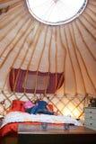 Couple Enjoying Luxury Camping Holiday In Yurt Royalty Free Stock Photo