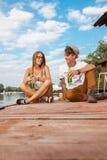 Couple Enjoying Near River Stock Photos