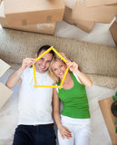 Couple enjoying in new house Stock Photo